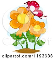 Cartoon Of A Happy Butterfly Mascot And Orange Flowers Royalty Free Vector Clipart
