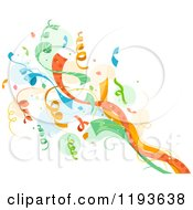 Cartoon Of A Colorful Pop Of Confetti Ribbons Over A Splash Royalty Free Vector Clipart