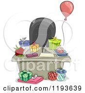 Cartoon Of An Office Desk With A Balloon And Gifts Royalty Free Vector Clipart
