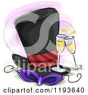 Cartoon Of A Costume Party Mask Top Hat And Champagne Royalty Free Vector Clipart by BNP Design Studio