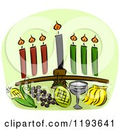 Cartoon Of A Kwanzaa Kinara And Other Holiday Items Over Green Royalty Free Vector Clipart by BNP Design Studio
