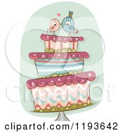 Cartoon Of A Funky Wedding Cake With Kissing Bride And Groom Birds On Top Royalty Free Vector Clipart