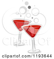 Cartoon Of Toasting Glasses Of Red Wine And Gray Bubbles Royalty Free Vector Clipart by BNP Design Studio
