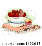 Cartoon Of A Bowl Of Apples And A Knife Royalty Free Vector Clipart