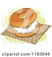 Cartoon Of A Bagel And Cream Cheese On A Napkin Royalty Free Vector Clipart