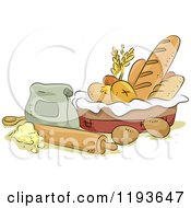 Cartoon Of A Bread Basket With A Rolling Pin Eggs Butter And Flour Royalty Free Vector Clipart by BNP Design Studio