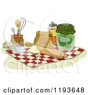 Cartoon Of Baking Ingredients And Items On A Towel Royalty Free Vector Clipart by BNP Design Studio