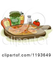 Cartoon Of A Pizza On A Wood Pan With Condiments And Toppings Royalty Free Vector Clipart