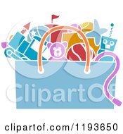 Cartoon Of A Stencil Styled Bag Of Toys Royalty Free Vector Clipart
