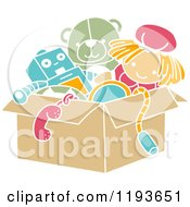 Cartoon Of A Stencil Styled Box Of Toys Royalty Free Vector Clipart