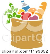 Cartoon Of A Stencil Styled Bag Of Groceries Royalty Free Vector Clipart