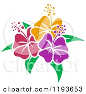 Cartoon Of Stencil Styled Hibiscus Flowers Royalty Free Vector Clipart