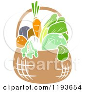 Cartoon Of A Stencil Styled Basket Of Veggies Royalty Free Vector Clipart