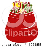 Cartoon Of A Large Red Santa Bag Full Of Presents Royalty Free Vector Clipart