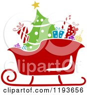 Cartoon Of A Stencil Styled Santa Sleigh With A Tree And Christmas Gifts Royalty Free Vector Clipart