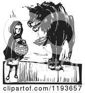 Clipart Of A Wolf Towering Over Little Red Riding Hood Black And White Woodcut Royalty Free Vector Illustration by xunantunich