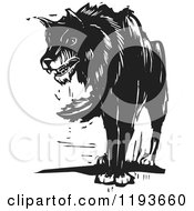Growling Wolf Black And White Woodcut