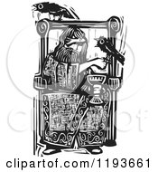Clipart Of The Norse God Odin Sitting In A Chair With Crows Black And White Woodcut Royalty Free Vector Illustration by xunantunich