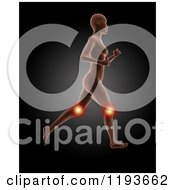 Clipart Of A 3d Running Female Medical Model With Glowing Knee Pain On Black Royalty Free CGI Illustration