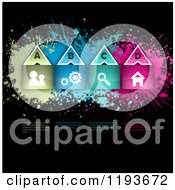 Clipart Of Colorful Grungy Website Icon Infographics On Black With Sample Text Royalty Free Vector Illustration by KJ Pargeter