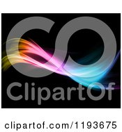 Clipart Of A Gradient Colorful Neon Wave On Black Royalty Free CGI Illustration