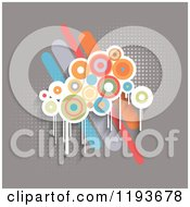 Clipart Of Retro Grungy Circles Over Bars On Gray With Halftone Royalty Free Vector Illustration