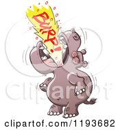 Cartoon Of A Hippo Burping Loudly Royalty Free Vector Clipart by Zooco