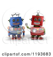 Clipart Of 3d Happy Red And Blue Robot Friends Royalty Free CGI Illustration
