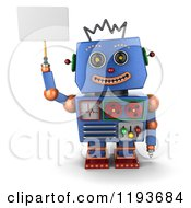 3d Happy Blue Robot Holding Up A Sign