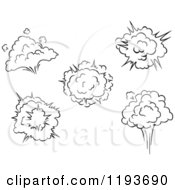 Clipart Of Black And White Comic Bursts Explosions Or Poofs 2 Royalty Free Vector Illustration