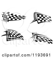 Clipart Of Black And White Checkered Racing Flags Royalty Free Vector Illustration
