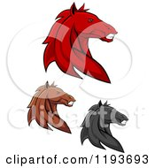Clipart Of Tough Red Black And Brown Horse Heads Royalty Free Vector Illustration