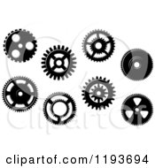 Clipart Of Black And White Gear Cog Wheels 5 Royalty Free Vector Illustration