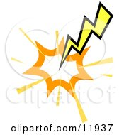 Striking Lightning Bolt Clipart Illustration