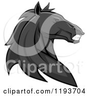 Clipart Of A Tough Black Horse Head Royalty Free Vector Illustration