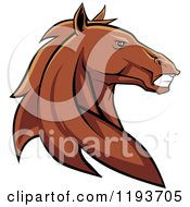 Clipart Of A Tough Brown Horse Head Royalty Free Vector Illustration