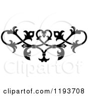 Clipart Of A Black And White Ornate Floral Victorian Design Element 7 Royalty Free Vector Illustration