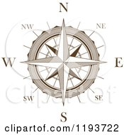 Clipart Of A Brown And White Compass Rose Royalty Free Vector Illustration