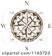 Clipart Of A Brown And White Compass Rose 2 Royalty Free Vector Illustration