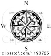 Clipart Of A Black And White Compass Rose 2 Royalty Free Vector Illustration