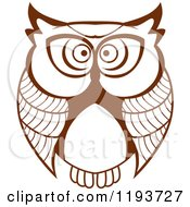 Clipart Of A Brown Owl 2 Royalty Free Vector Illustration by Seamartini Graphics
