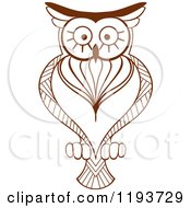 Clipart Of A Brown Owl 4 Royalty Free Vector Illustration by Vector Tradition SM
