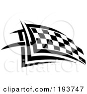 Clipart Of A Black And White Checkered Racing Flag 3 Royalty Free Vector Illustration
