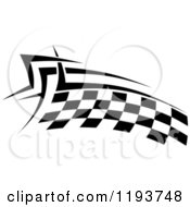 Clipart Of A Black And White Checkered Racing Flag 4 Royalty Free Vector Illustration