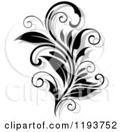 Clipart Of A Black And White Flourish With A Shadow Royalty Free Vector Illustration