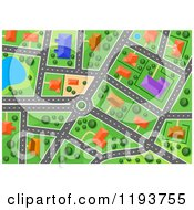 Clipart Of An Aerial Map Of A Surburban Area Royalty Free Vector Illustration