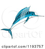 Clipart Of A Jumping Blue Marlin Fish 2 Royalty Free Vector Illustration