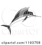 Clipart Of A Jumping Grayscale Marlin Fish 2 Royalty Free Vector Illustration