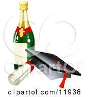 Graduation Cap Red Tassel Diploma And Wine Bottle Clipart Illustration