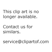 Cartoon Of A Cow Near A Scarecrow And Huts On A Hilly Landscape At Sunset Royalty Free Vector Clipart